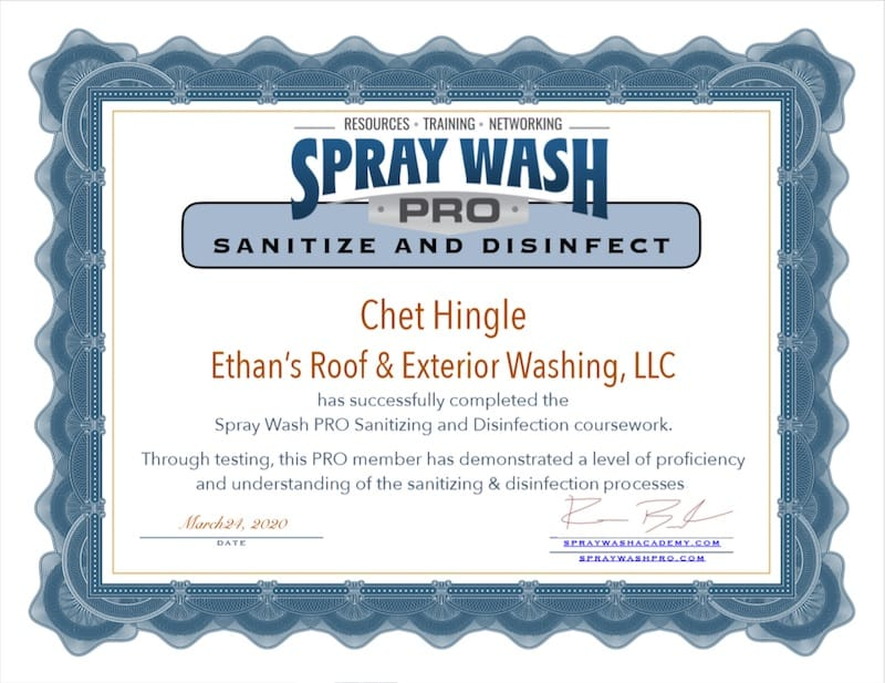 Spray Wash Pro Sanitizing and Disinfection Certified